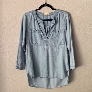 Anthropologie   cloth & stone   Chambray Tunic Top